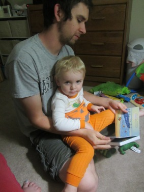 Reading at bedtime with Dada