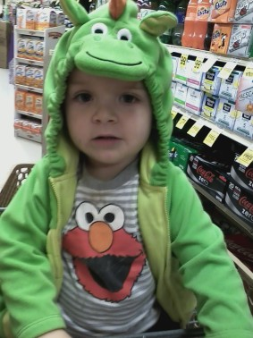 I only have a few photos from Halloween so I'm saving them for that post. Instead, here's Damien insisting on wearing the top part of his costume to the grocery store the day after Halloween.